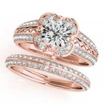 Artistic Micro-pave' Flower Diamond Bridal Set 18k Rose Gold (2.25ct)