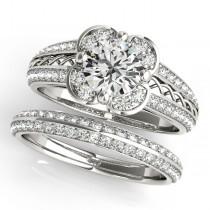Artistic Micro-pave' Flower Diamond Bridal Set 18k White Gold (2.25ct)