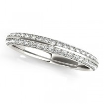 Double Row Micro-pave' Diamond Wedding Band 14k White Gold (0.25ct)