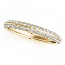 Double Row Micro-pave' Diamond Wedding Band 14k Yellow Gold (0.25ct)