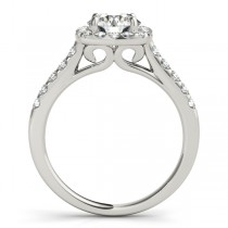 Square Halo Round Diamond Engagement Ring 14k White Gold (1.38ct)