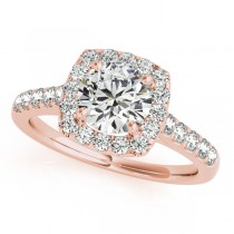 Square Halo Round Diamond Engagement Ring 18k Rose Gold (1.38ct)