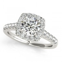 Square Halo Round Diamond Engagement Ring 18k White Gold (1.38ct)