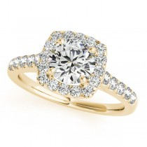 Square Halo Round Diamond Engagement Ring 18k Yellow Gold (1.38ct)
