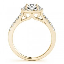 Square Halo Round Diamond Engagement Ring 18k Yellow Gold (1.38ct)