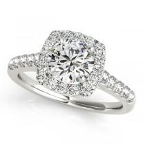Square Halo Round Diamond Engagement Ring Palladium (1.38ct)