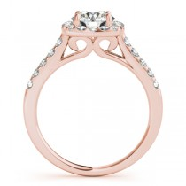 Halo Square Diamond Engagement Ring 18k Rose Gold (0.38ct)