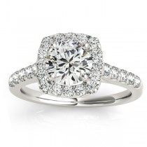 Halo Square Diamond Engagement Ring Platinum (0.38ct)