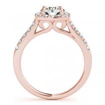 Square Halo Round Diamond Bridal Set 14k Rose Gold (1.61ct)