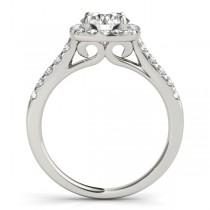 Square Halo Round Diamond Bridal Set Palladium (1.61ct)