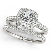 Square Halo Round Diamond Bridal Set Platinum (1.61ct)