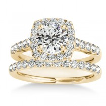 Halo Square Diamond Bridal Set 18k Yellow Gold (0.61ct)
