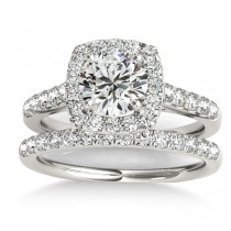 Halo Square Diamond Bridal Set Palladium (0.61ct)