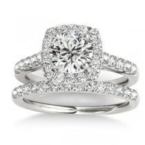 Halo Square Diamond Bridal Set Platinum (0.61ct)