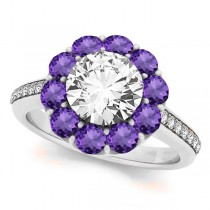 Floral Design Round Halo Amethyst Engagement Ring 14k White Gold (2.50ct)