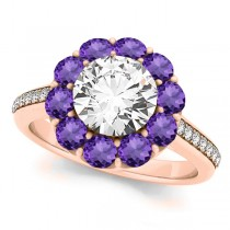 Floral Design Round Halo Amethyst Engagement Ring 18k Rose Gold (2.50ct)