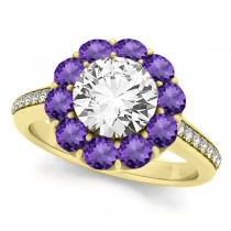 Floral Design Round Halo Amethyst Engagement Ring 18k Yellow Gold (2.50ct)