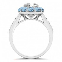 Floral Design Round Halo Aquamarine Engagement Ring 14k White Gold (2.50ct)