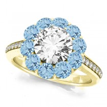 Floral Design Round Halo Aquamarine Engagement Ring 14k Yellow Gold (2.50ct)