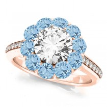 Floral Design Round Halo Aquamarine Engagement Ring 18k Rose Gold (2.50ct)