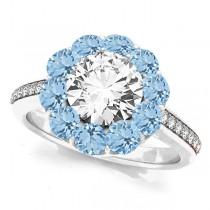 Floral Design Round Halo Aquamarine Engagement Ring 18k White Gold (2.50ct)