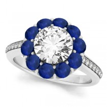 Floral Diamond & Blue Sapphire Halo Engagement Ring 14k White Gold (2.50ct)