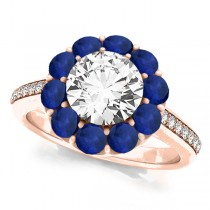 Floral Diamond & Blue Sapphire Halo Engagement Ring 18k Rose Gold (2.50ct)