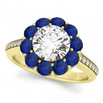 Floral Diamond & Blue Sapphire Halo Engagement Ring 18k Yellow Gold (2.50ct)