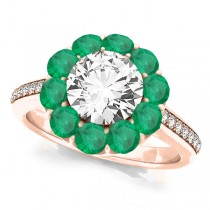 Floral Design Round Halo Emerald Engagement Ring 14k Rose Gold (2.50ct)