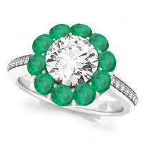 Floral Design Round Halo Emerald Engagement Ring 14k White Gold (2.50ct)