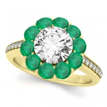 Floral Design Round Halo Emerald Engagement Ring 18k Yellow Gold (2.50ct)