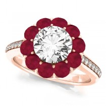 Floral Design Round Halo Ruby Engagement Ring 18k Rose Gold (2.50ct)