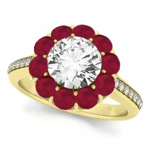 Floral Design Round Halo Ruby Engagement Ring 18k Yellow Gold (2.50ct)