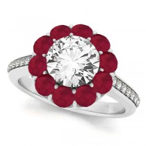 Floral Design Round Halo Ruby Engagement Ring Platinum (2.50ct)