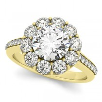 Floral Design Round Halo Engagement Ring 14k Yellow Gold (2.50ct)