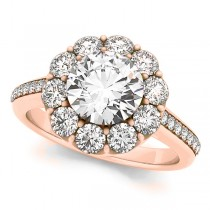 Floral Design Round Halo Engagement Ring 18k Rose Gold (2.50ct)