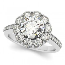 Floral Design Round Halo Engagement Ring 18k White Gold (2.50ct)