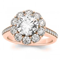 Diamond Floral Halo Engagement Ring Setting 18k Rose Gold (1.00ct)