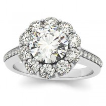 Diamond Floral Halo Engagement Ring Setting 18k White Gold (1.00ct)