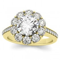 Diamond Floral Halo Engagement Ring Setting 18k Yellow Gold (1.00ct)
