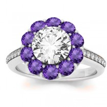 Diamond & Amethyst Floral Halo Engagement Ring Setting 14k White Gold (1.00ct)