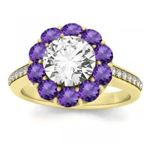Diamond & Amethyst Floral Halo Engagement Ring Setting 18k Yellow Gold (1.00ct)