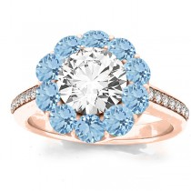 Diamond & Aquamarine Floral Halo Engagement Ring Setting 14k Rose Gold (1.00ct)