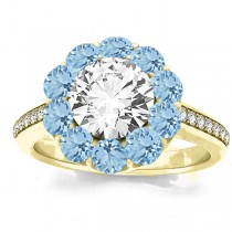 Diamond & Aquamarine Floral Halo Engagement Ring Setting 14k Yellow Gold (1.00ct)