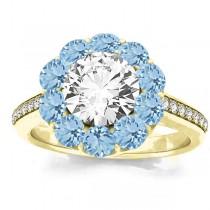 Diamond & Aquamarine Floral Halo Engagement Ring Setting 18k Yellow Gold (1.00ct)