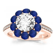 Diamond & Blue Sapphire Floral Engagement Ring Setting 14k Rose Gold (1.00ct)