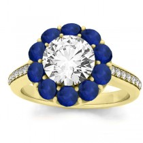 Diamond & Blue Sapphire Floral Engagement Ring Setting 18k Yellow Gold (1.00ct)