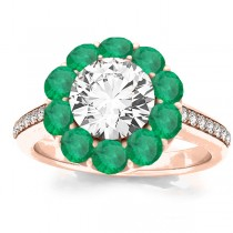 Diamond & Emerald Floral Halo Engagement Ring Setting 14k Rose Gold (1.00ct)