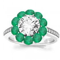 Diamond & Emerald Floral Halo Engagement Ring Setting 14k White Gold (1.00ct)