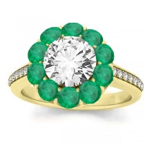 Diamond & Emerald Floral Halo Engagement Ring Setting 14k Yellow Gold (1.00ct)
